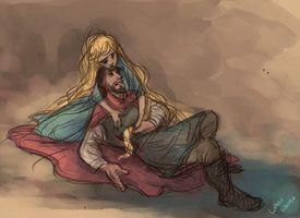 Rapunzel heals Flynn