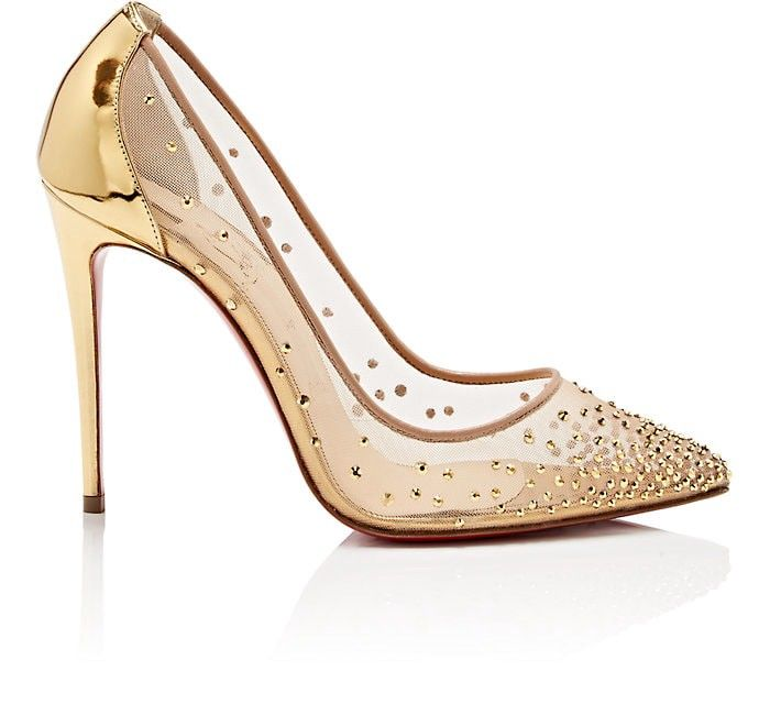 b9f2595979d2 Christian Louboutin Follies Strass Mesh   Leather Pumps - 7 Red