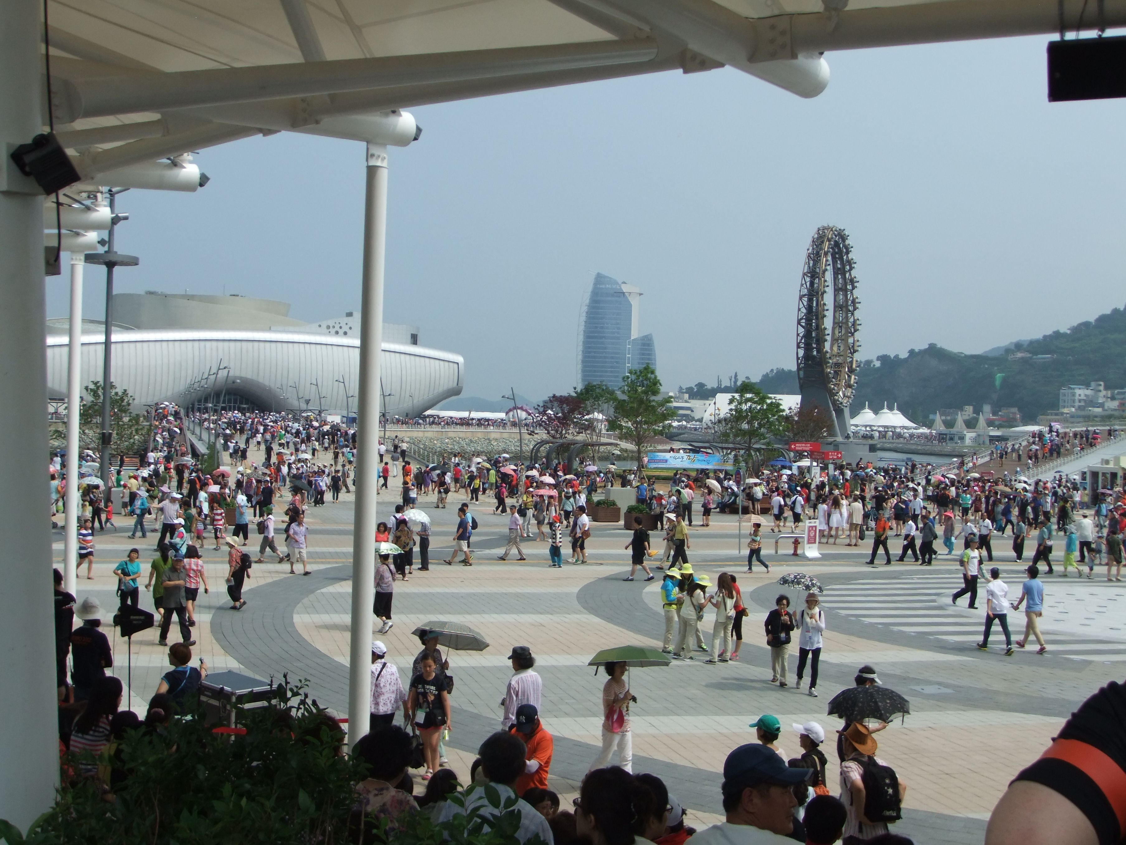The inside of an expo.   It is fine weather on the day.