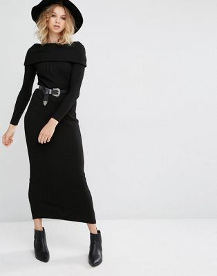 cfcb5dda498 Shop Mango Off the Shoulder Knitted Sweater Dress at ASOS. Discover fashion  online.