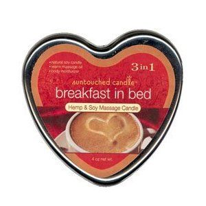 Earthly Body Breakfast In Bed Suntouched Candle can be used as a candle, massage oil or moisturizer for dry skin. Contains Vitamin E, Soy and Hemp oil. These 100% natural candles are environmentally friendly and petroleum free.</p>