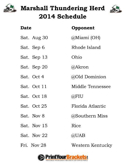 Printable Marshall Thundering Herd Football Schedule 2014 Arizona Wildcats Football Lsu Utah Utes Football