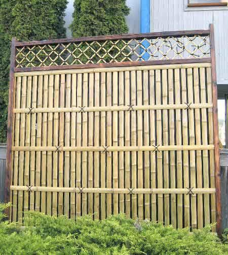 bamboo fencing | Wood framed Bamboo Branch Fence Panels Misugaki bamboo  fence panel