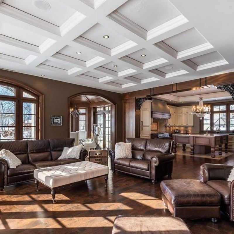 Beautiful Living Room With All White Coffered Ceiling Recessed Into The Ceiling With Sof Brown Walls Living Room Recessed Lighting Living Room Coffered Ceiling