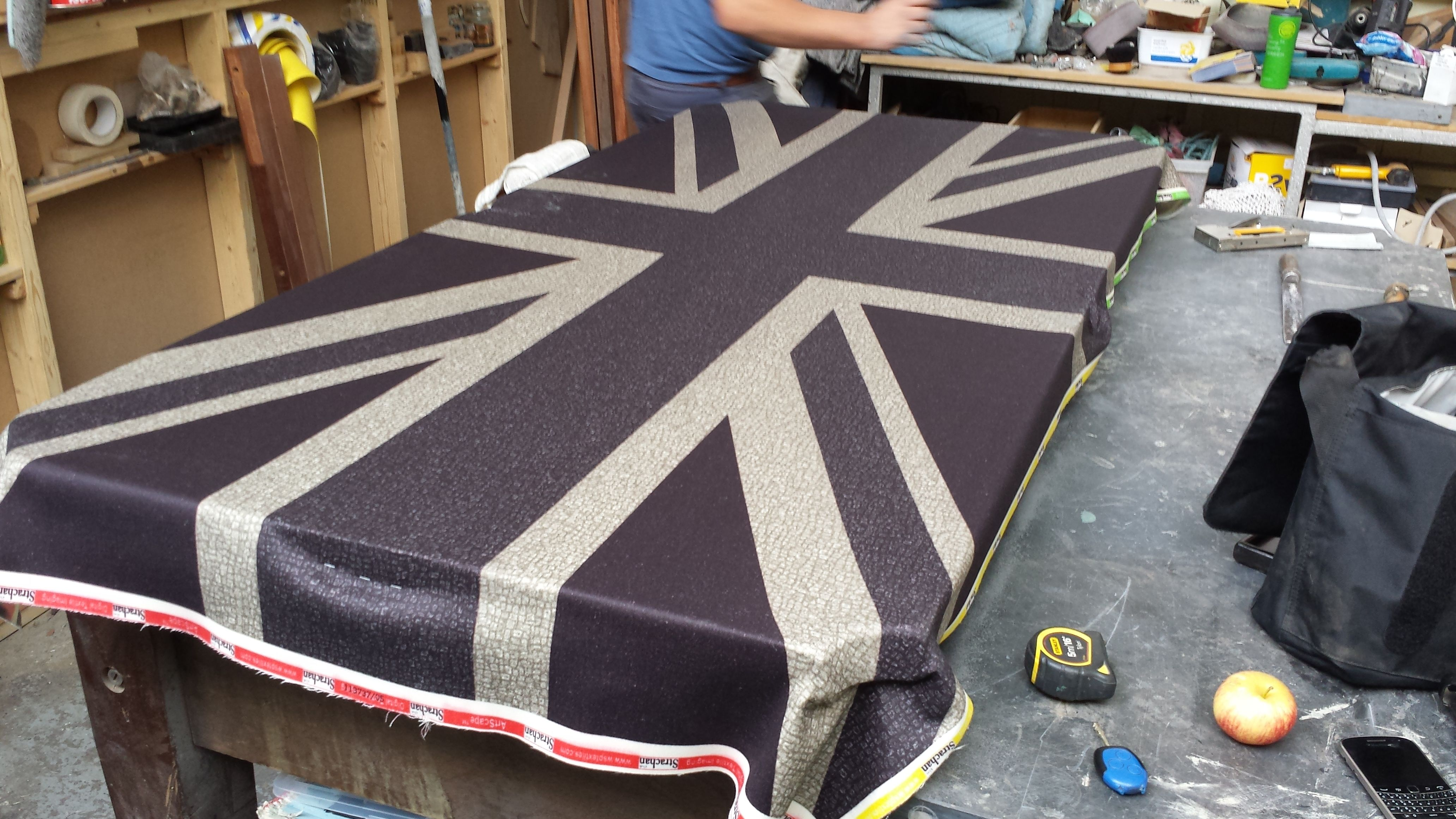 Restored Antique Pool Table With Grey Union Jack Cloth