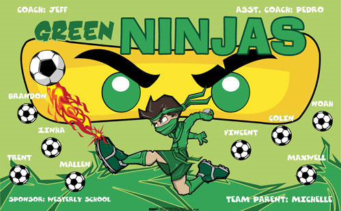 Green Ninjas digitally printed vinyl Soccer sports team banner. Made in the USA and shipped fast by Banners USA. http://www.bannersusa.com/art/templates_2/digital/banners/VBS_BB_banners.php