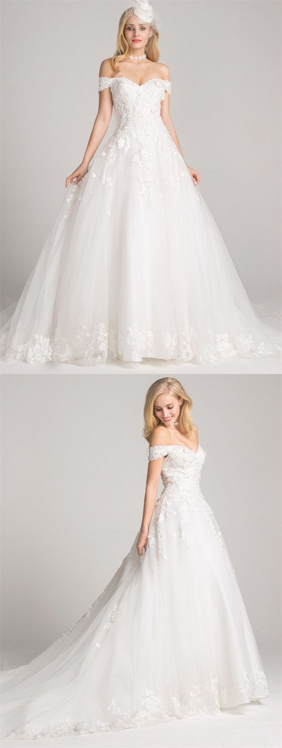 Ball gown offtheshoulder chapel train laceup wedding dress with
