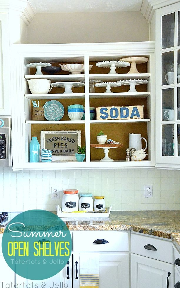 summer open shelves at tatertots and jello - I'm obsessed with these! Want to do this for my Pyrex.