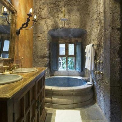 mesmerizing fancy rooms relaxing bathroom | The cement wall seems very fancy/castle esque. I kind of ...