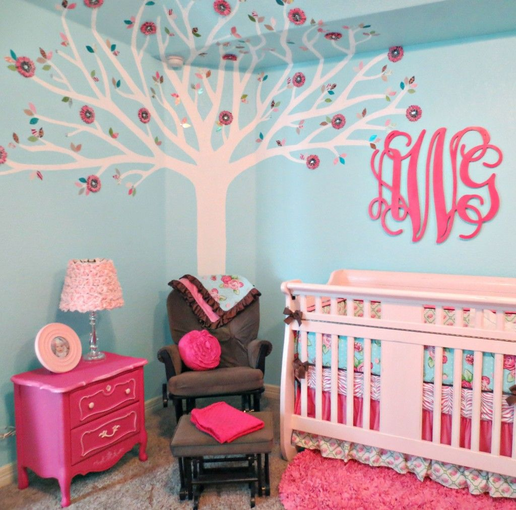 Pink and Aqua Monogram Nursery | Project nursery, Aqua and Monograms