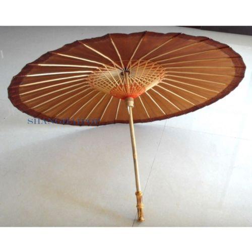 Oriental Paper Umbrella Parasol Dance Retro Craft Cosplay Party Brown Clic