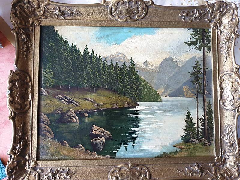 Altes Olgemalde Auf Holz Gemalt Alte Gemalde Landschaftsbilder