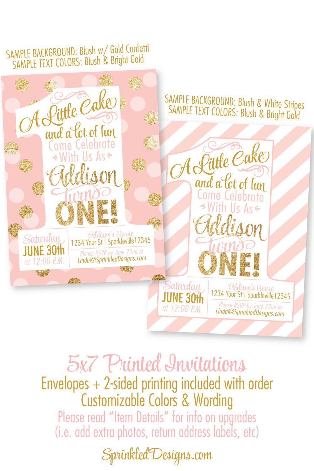 Pink and Gold Girl 1st Birthday Invitations - Blush Pink Gold ...