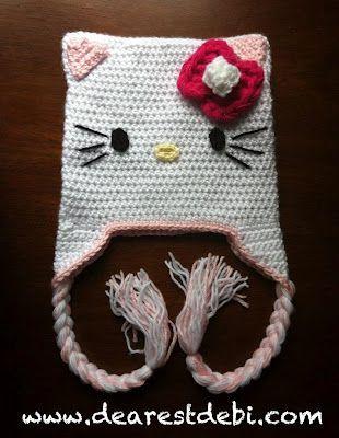 Hola gatito Hat Crochet - Patrón Crochet Free DearestDebi | Gorros ...
