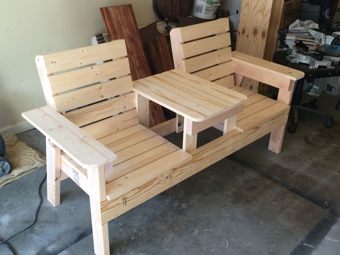 Double Chair Bench With Table Backyard Ideas In 2019