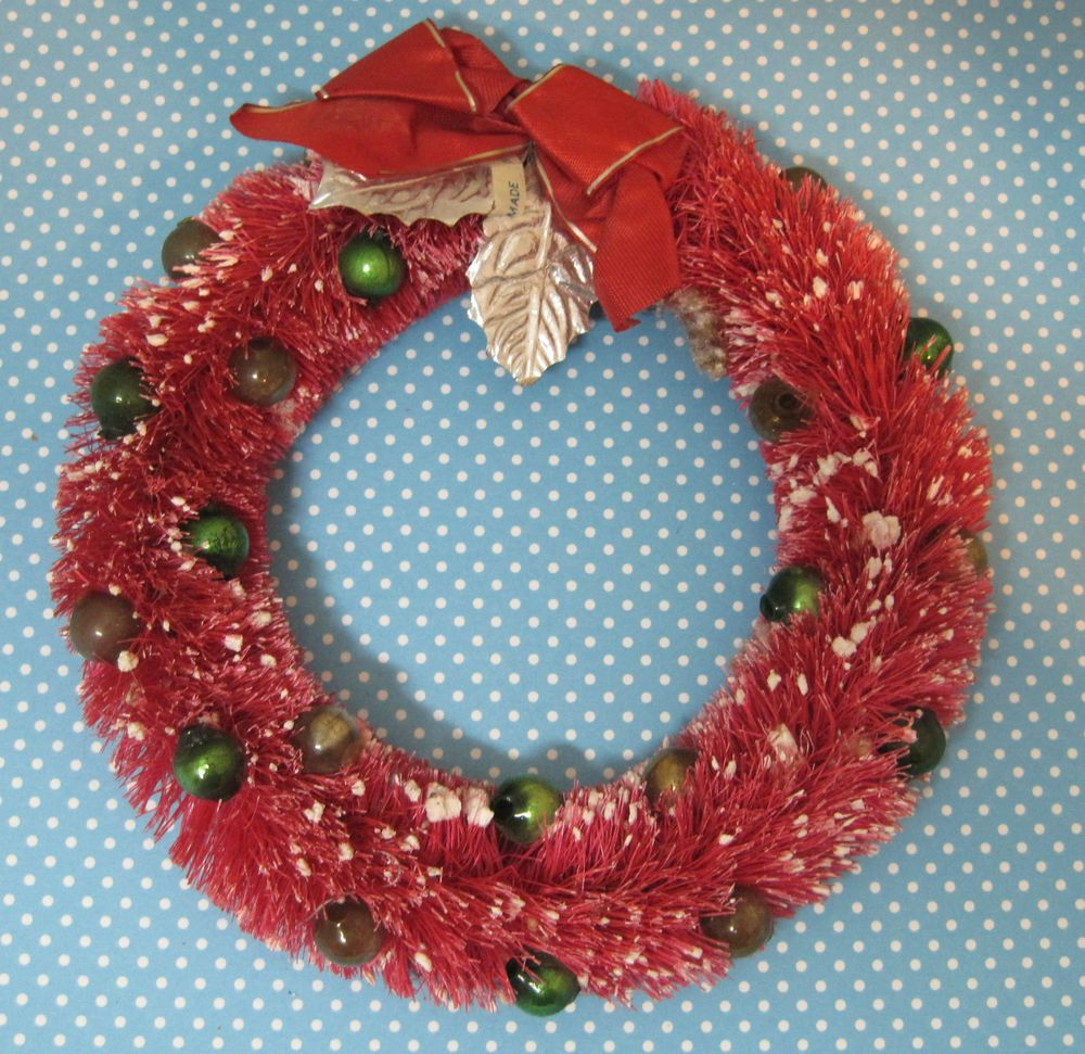Vintage Christmas Pink Red Bottle Brush Wreath