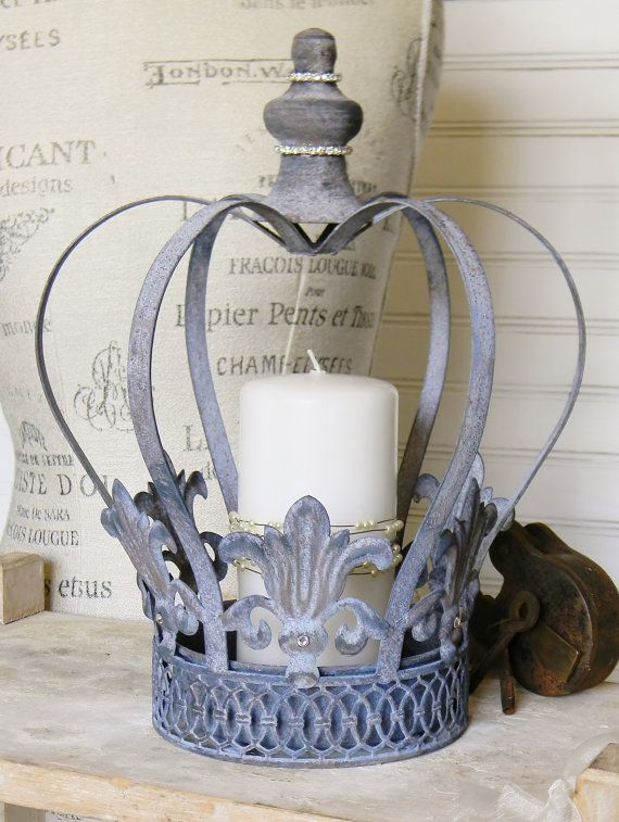 crown candle holder metal crown metal candle holder shabby. Black Bedroom Furniture Sets. Home Design Ideas