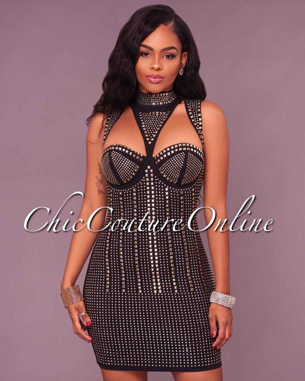 Heloise Black Studded Mini Dress