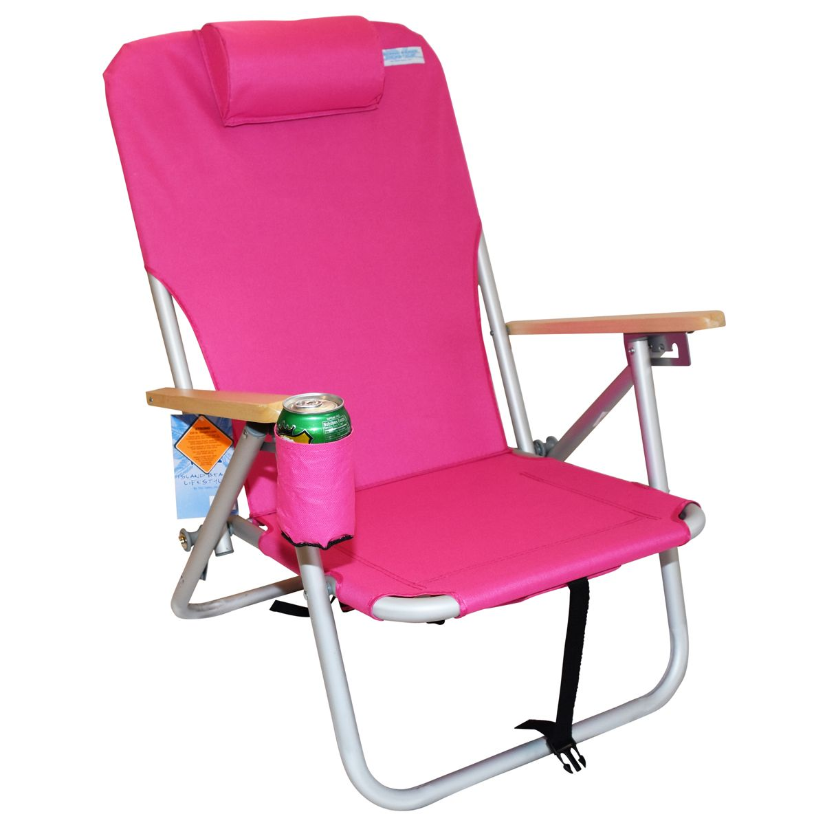 4 Positions Shoulder Strap Beach Chair Pink Product 15095 Brand Copa Lightweight Aluminum Sitting Wooden Arms Cup Holder