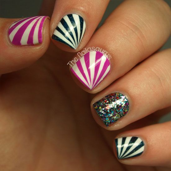 30 Pretty Starburst Nails With Tape London Beep Nail Art Ideas