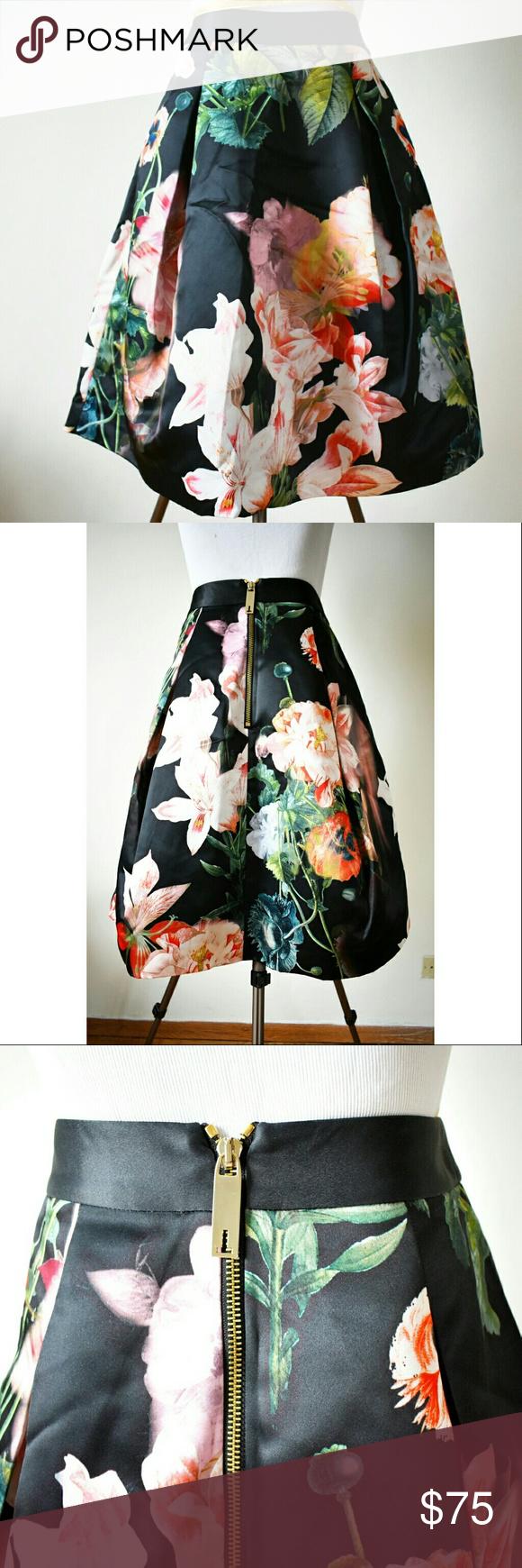 Ted Baker Midi Skirt Full midi skirt with floral print and gold zipper Ted Baker London Skirts Midi