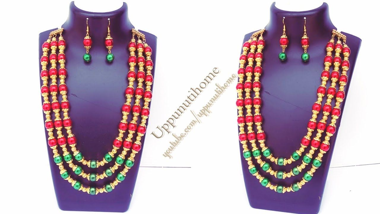 How To Make Beautiful Beads Necklace At Home DIY