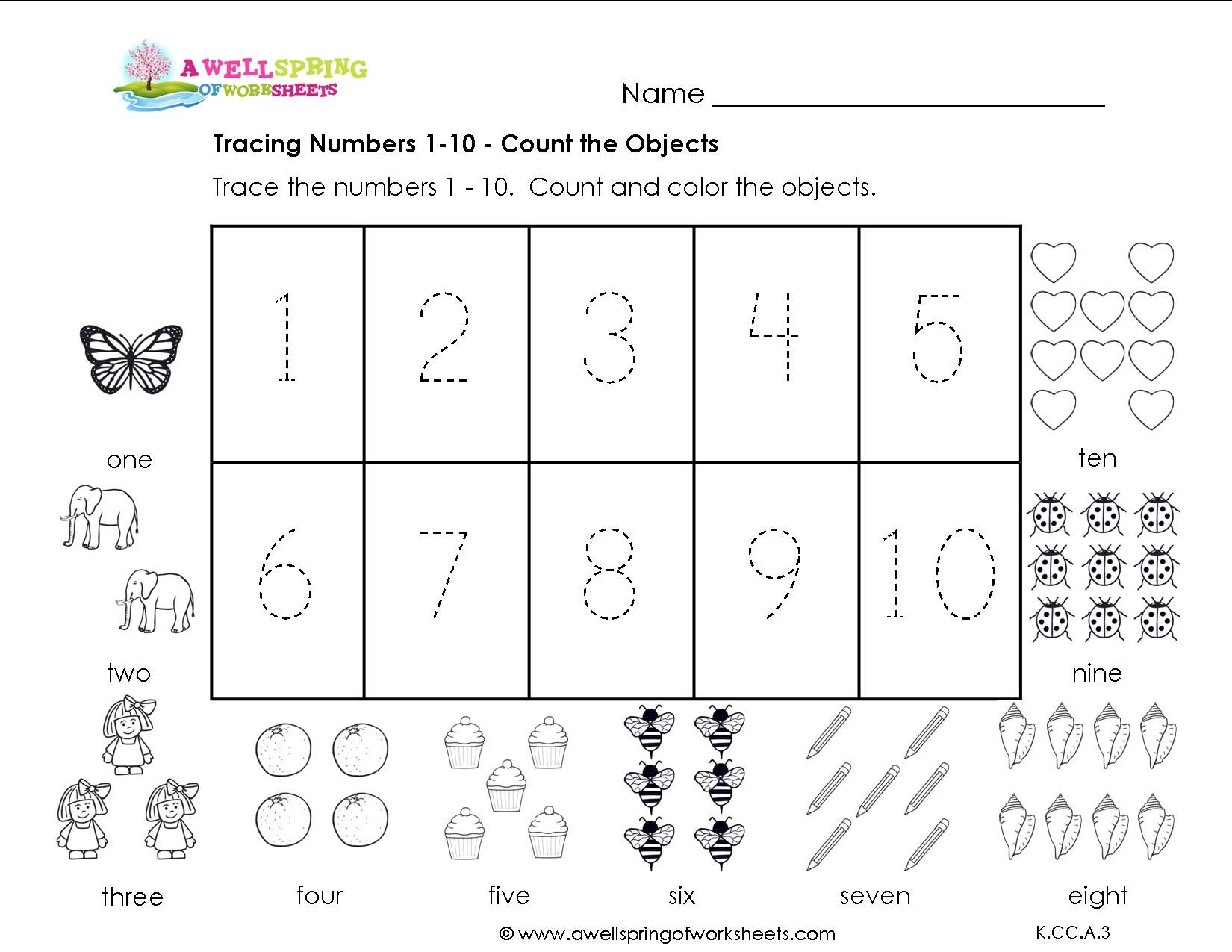 Traceable Number Worksheets 1 10