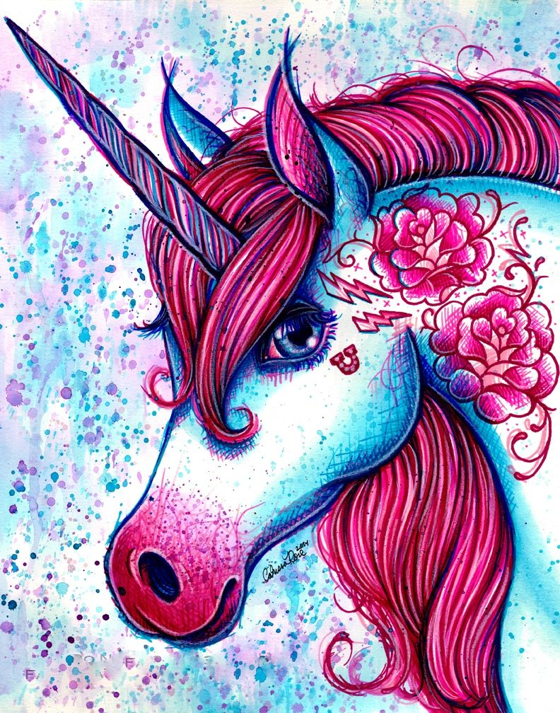 Boldly illustrated unicorn. It sort-of looks like something Lisa ...