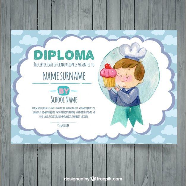 Watercolor graduation certificate template Free Vector - graduation certificate template free