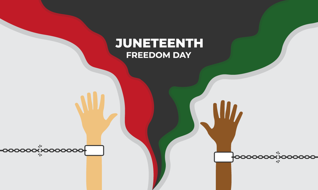 Juneteenth Freedom Day With Handcuffed Images Flat Style Illustration Freedom Day Image Freedom