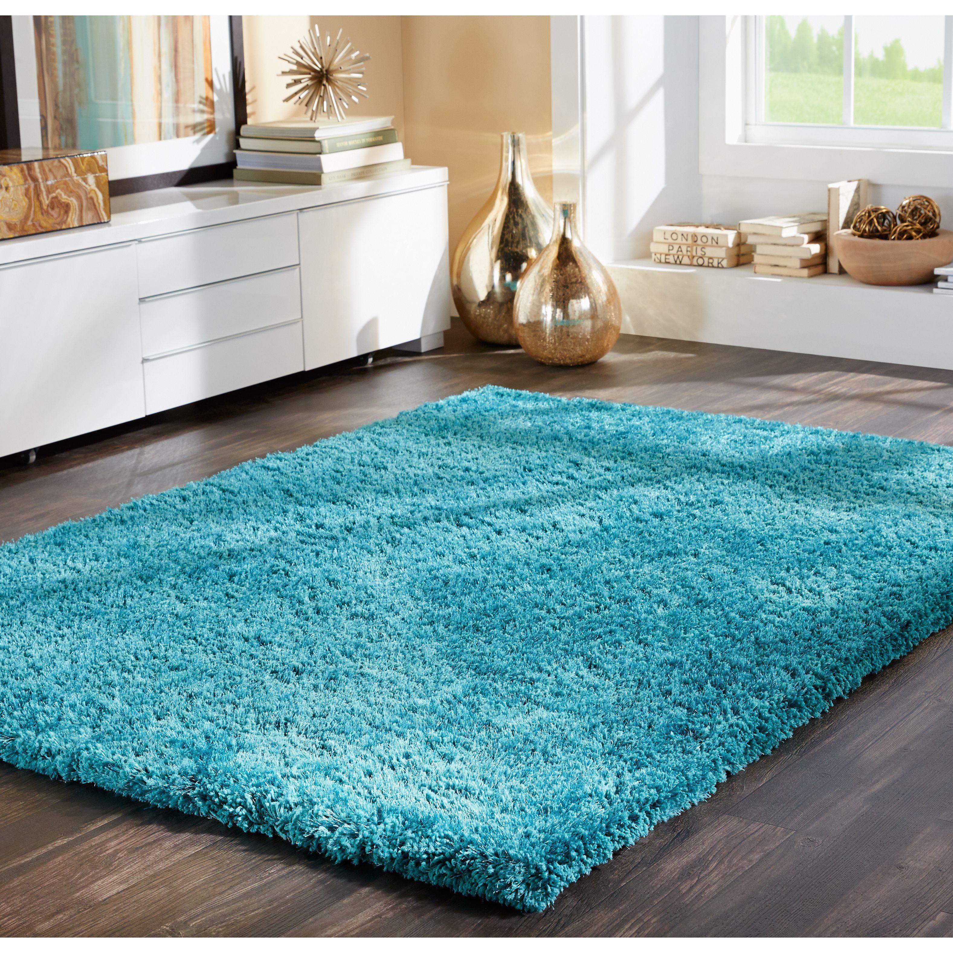 Style Haven Indoor Teal Shag Area Rug 8 X 11 Green Size 8 X 11 Polyester Solid Shag Area Rug Area Rugs Teal Rug
