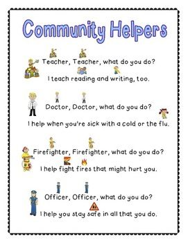 Community Helpers Poem - could make own flip book including more ...