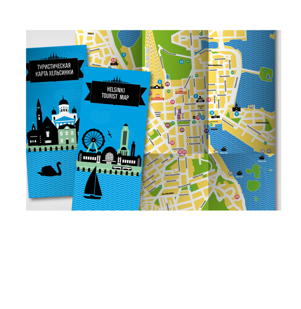 Tourist map of Helsinki by Anna Kurmaeva via Behance Apt4 maps