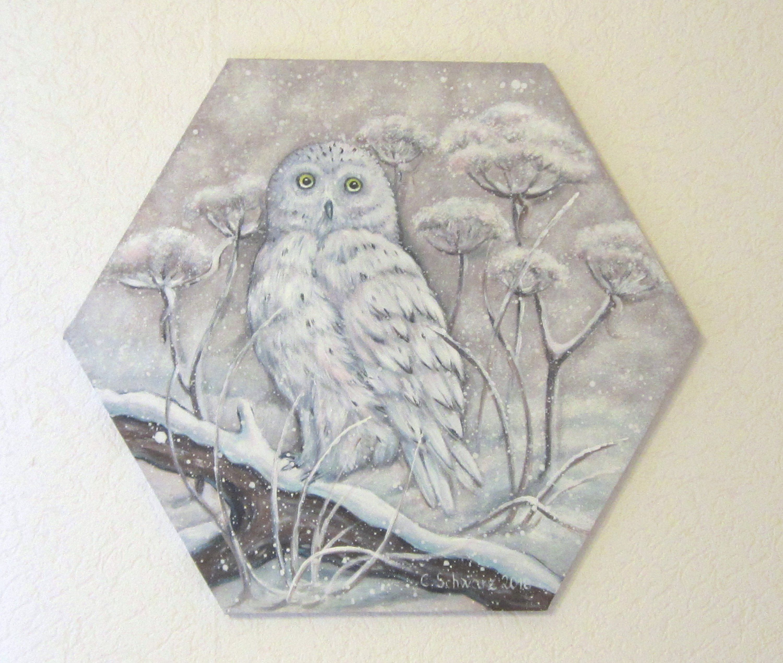 acrylic painting snow owl 6 square canvas art picture animal deco nature 50 cm diameter schneeeule bilder leinwand eulen hochzeitsfoto eigene