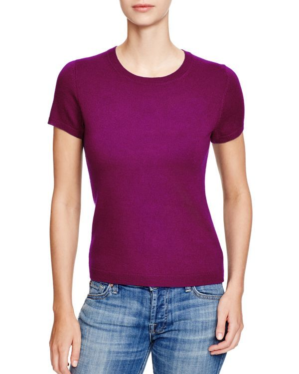 C by Bloomingdale's Short Sleeve Cashmere Sweater
