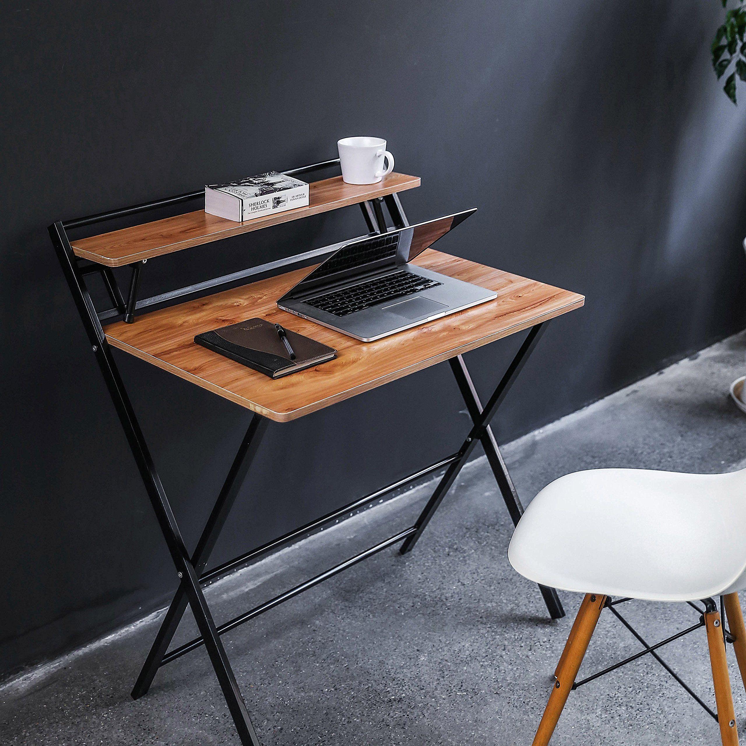 Jiwu 2 Form Folding Study Desk For Small Space Home Corner Desks Simple Computer Desk Laptop Writing Table Desks For Small Spaces Small Study Table Simple Desk Folding desks for small spaces