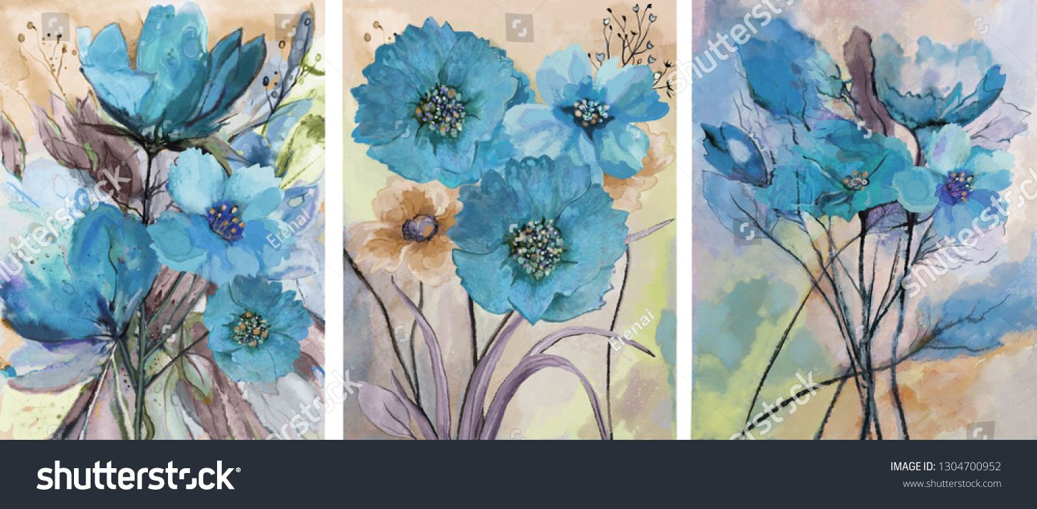 Collection of designer oil paintings decoration for the interior modern abstract art on canvas set of paintings with blue watercolor flowers