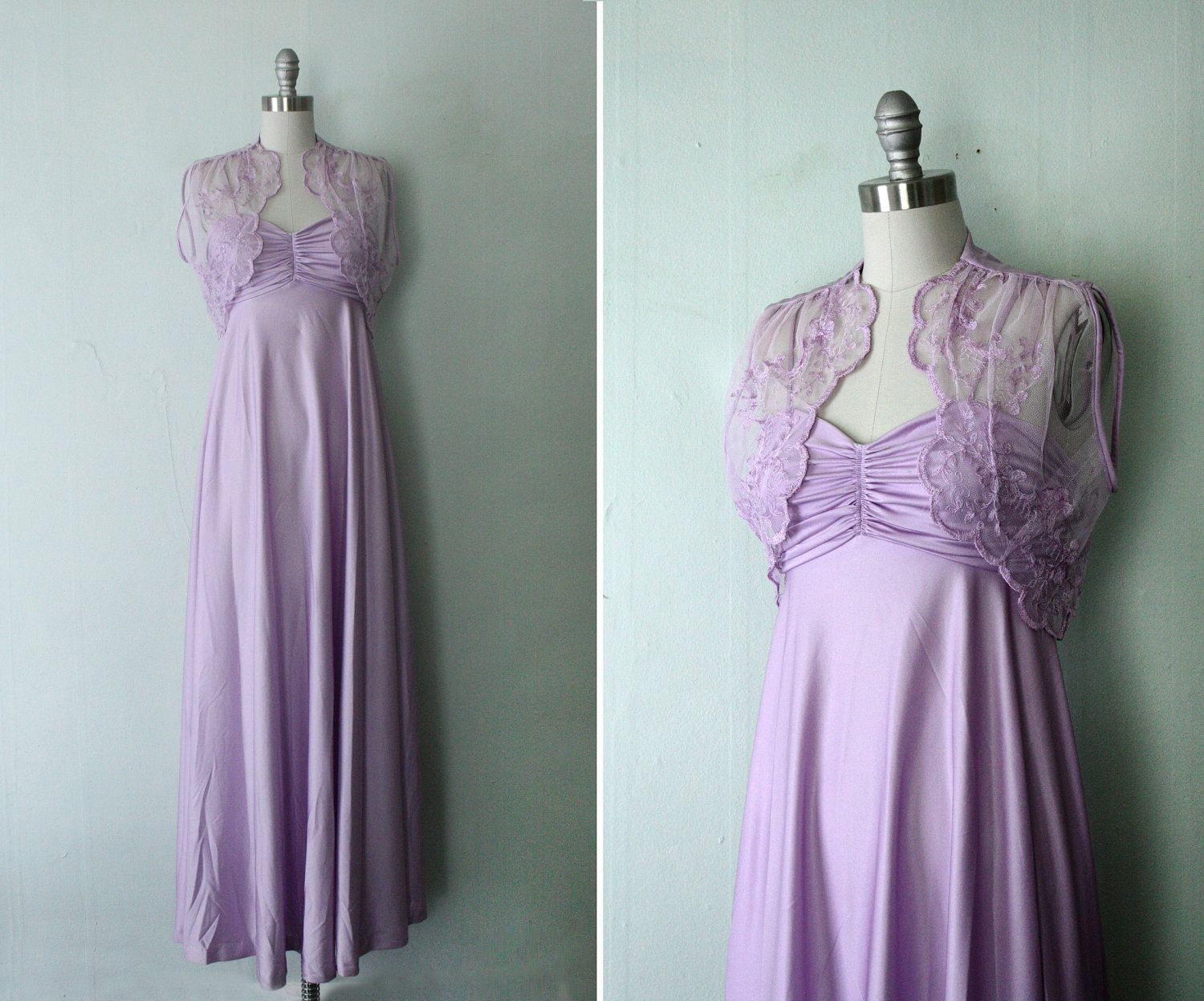 70s Lilac Formal Dress With Shrug Lilac Empire Womens Xs S
