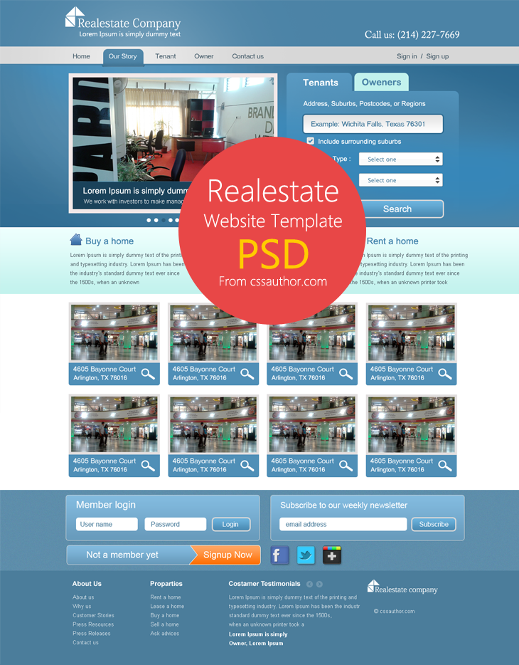 Real Estate Website Template Psd For Free Download Cssauthorcom