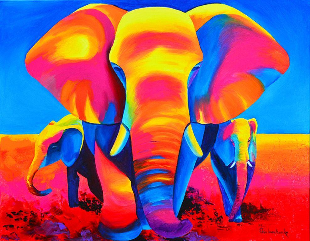 Dit schilderij is zoals je duidelijk kunt zien een hele felle olifant met 2 kleintjes er is - Kleur warm en koud ...