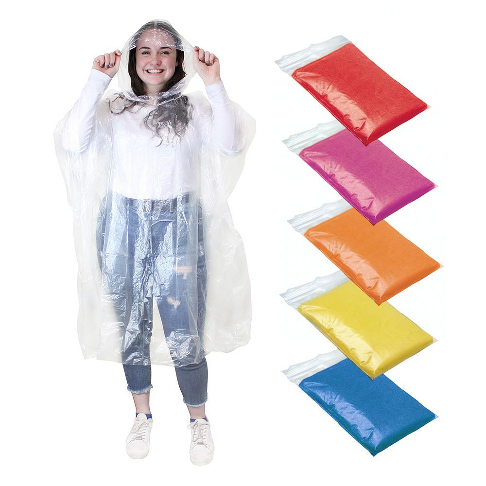 Waterproof Poncho Rain Coat Hooded Camping Festival Adult Emergency x 1