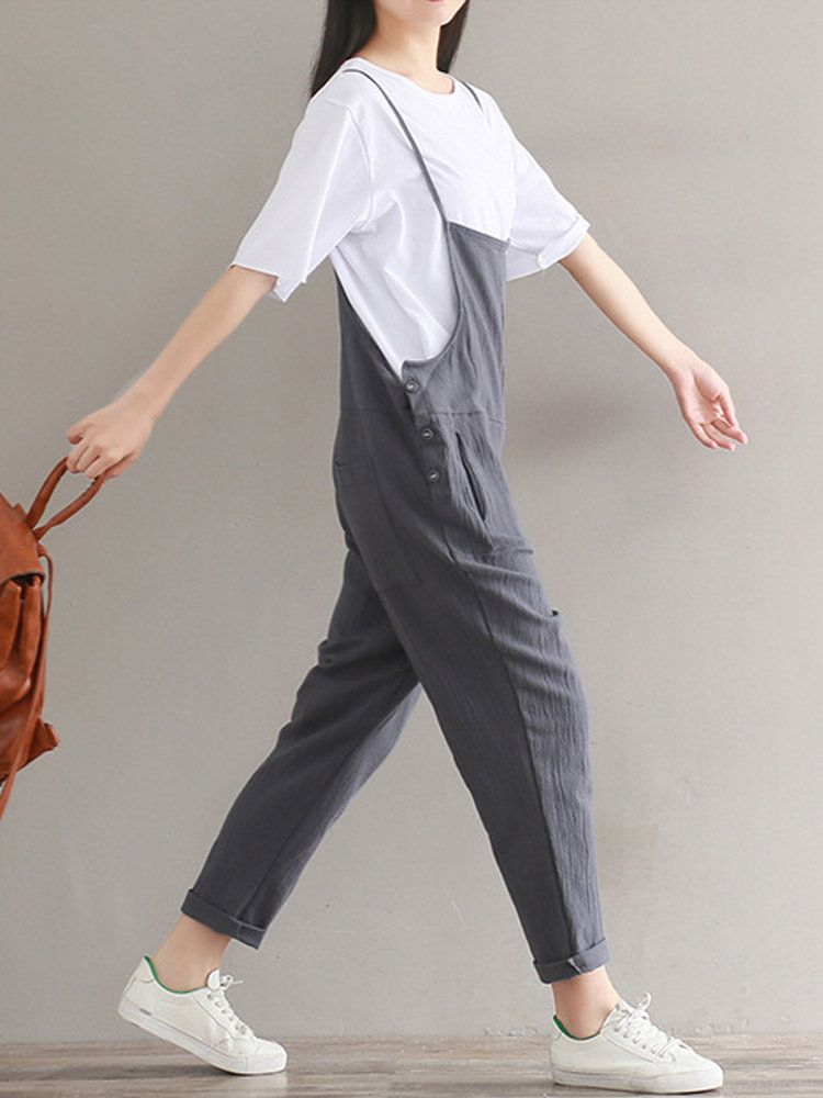 Hot-sale Casual Strap Sleeveless Pockets Baggy Simple Jumpsuits Overalls - NewChic #casualjumpsuit