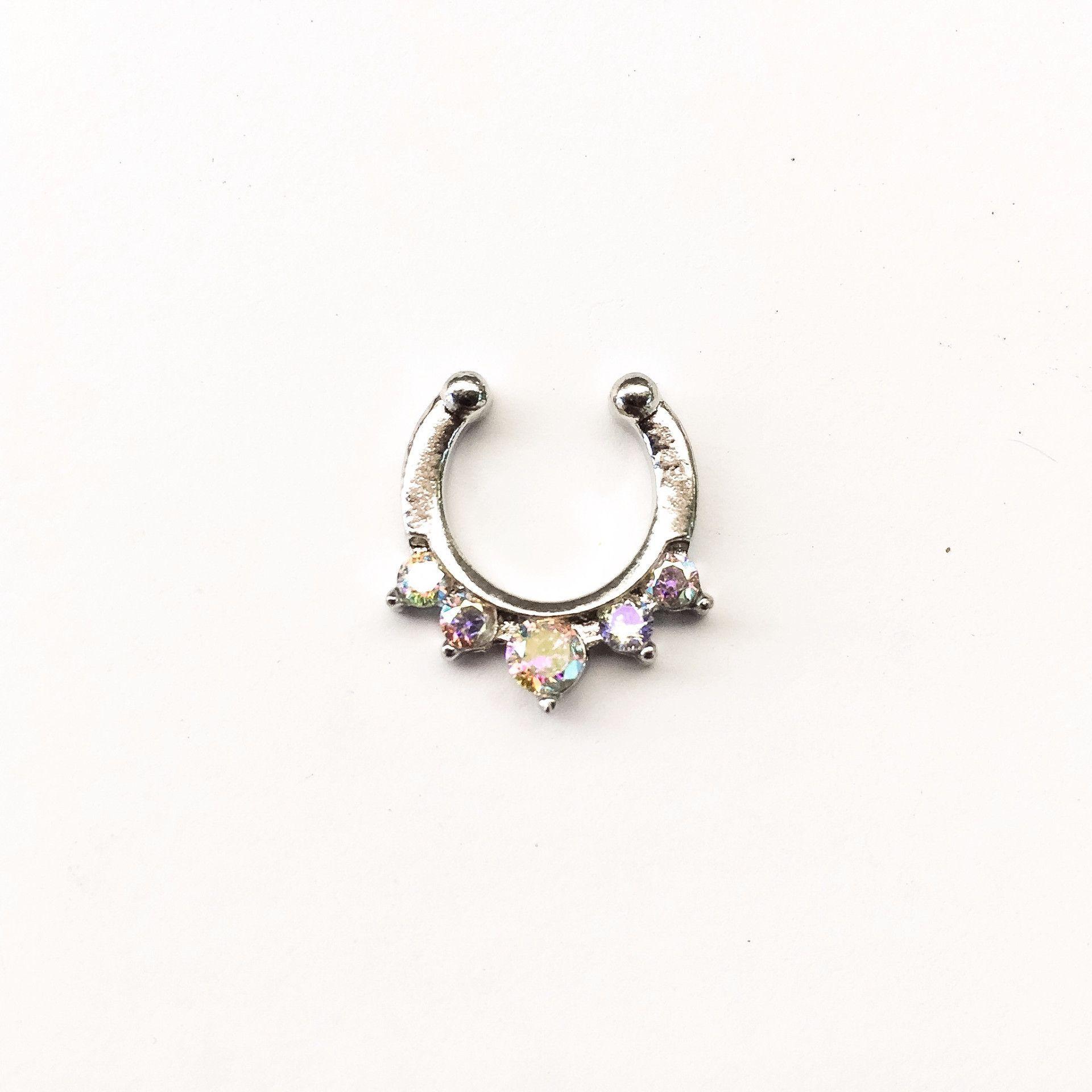 Nose piercing earrings  Faux Septum Rings  Faux septum ring Septum and Ring