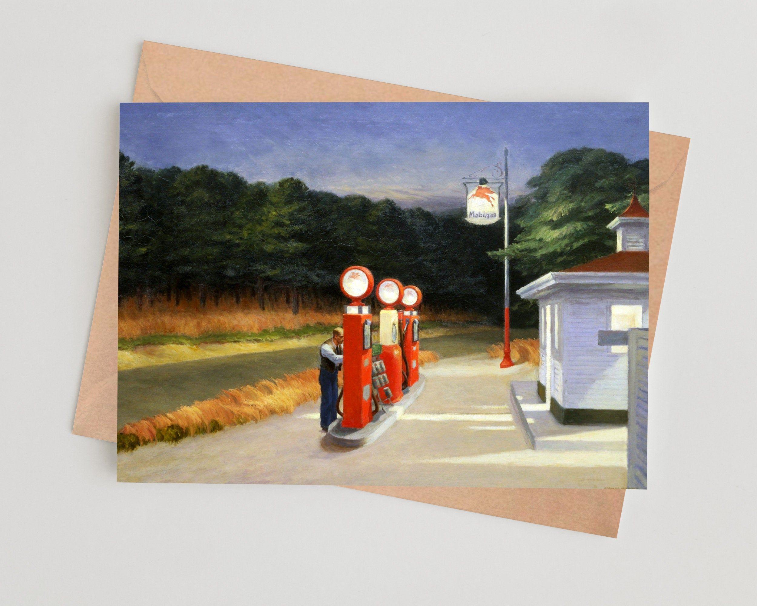 Edward Hopper - Gas, 1940. Personalised Fine Art Greetings / Birthday Card.