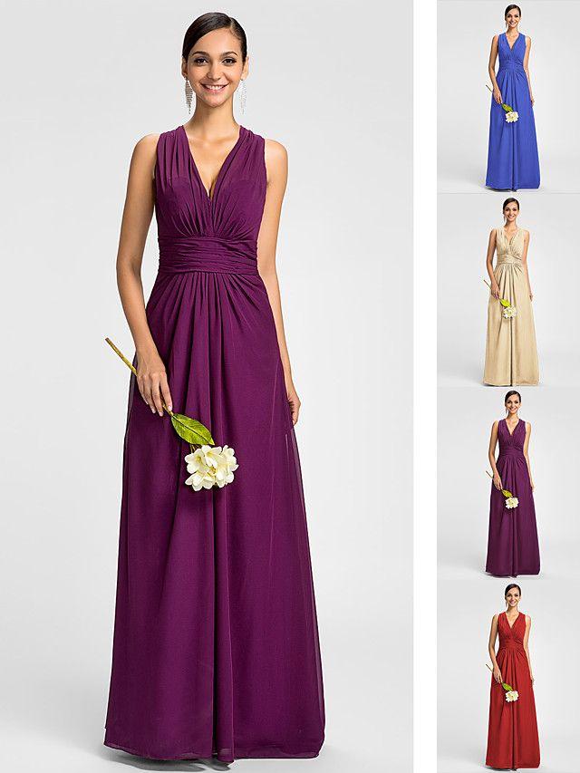 A-Line V Neck Floor Length Chiffon Bridesmaid Dress with Side ...