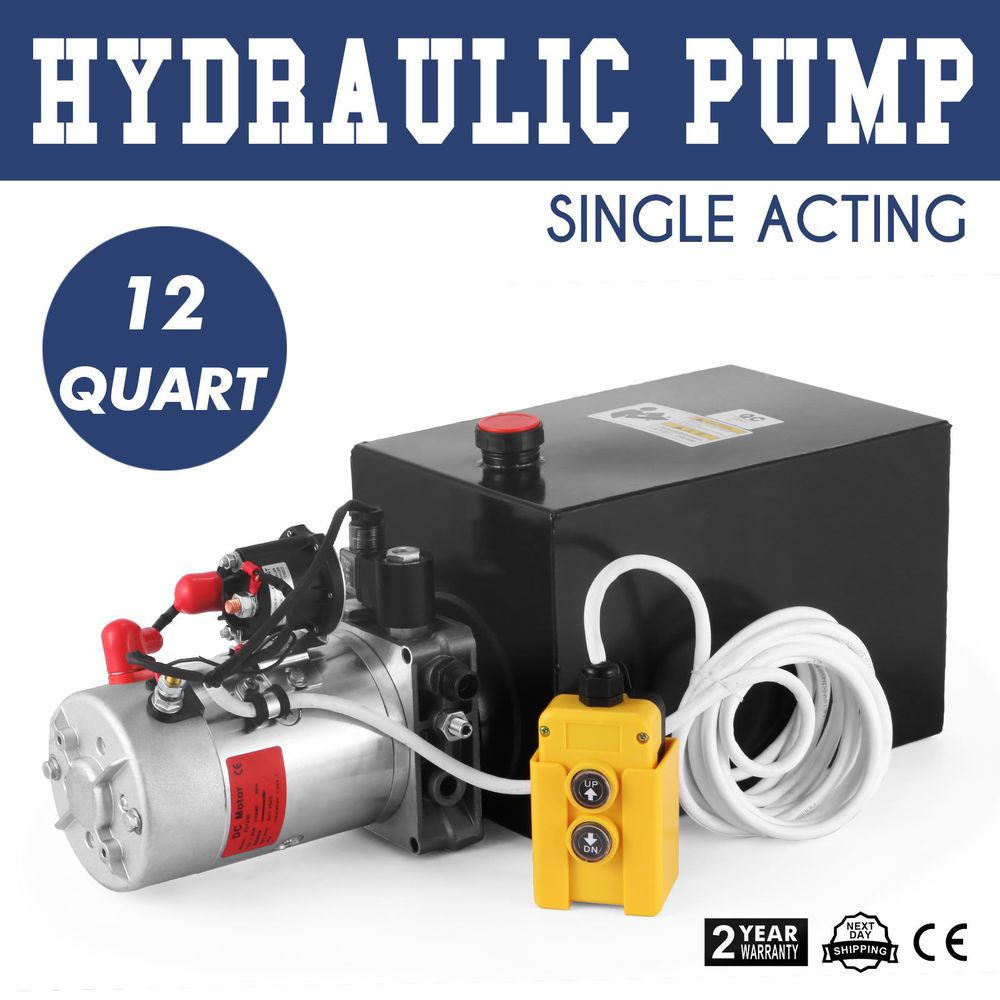 Hydraulic Pump Single Acting 12 Quart Reservoir Tank Dump Trailer