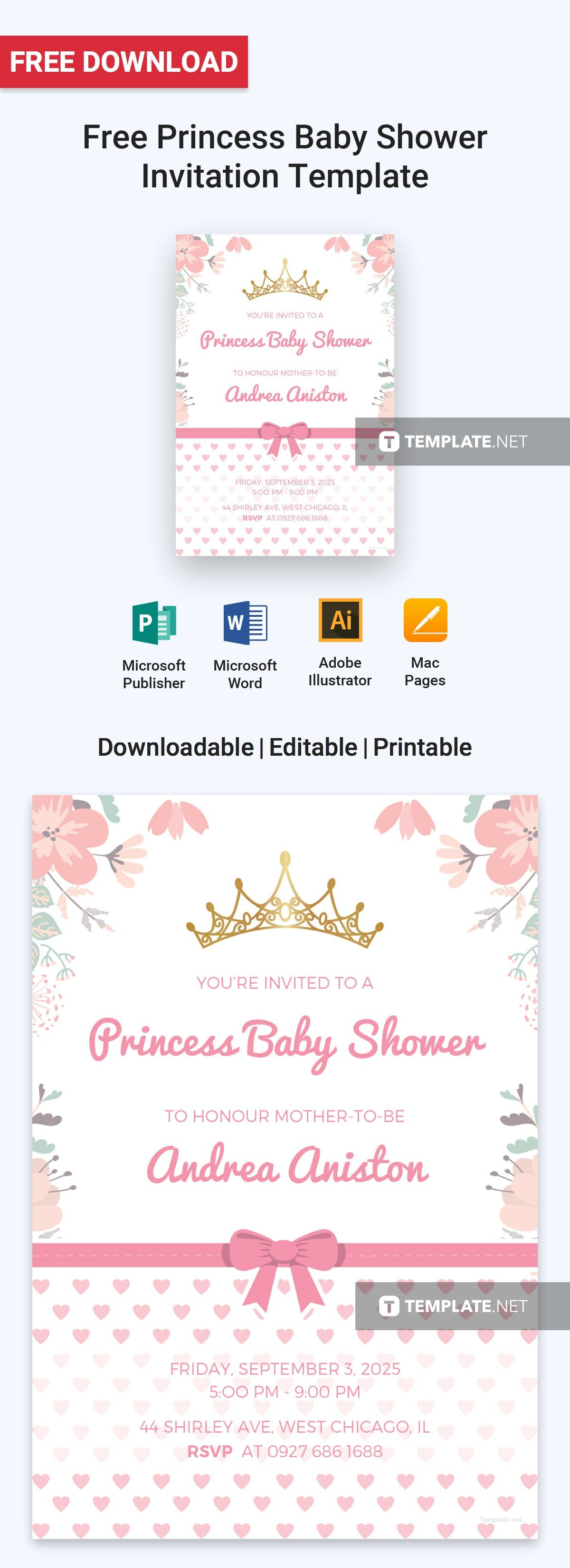 Princess Baby Shower Invitation Templates