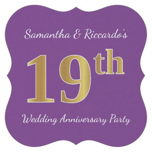 Purple Faux Gold 19th Wedding Anniversary Party Paper Coaster