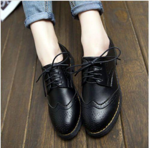 Retro-para-mujer-Lace-Up-Punta-Redonda-Baja-Grueso-Tacones-Oxfords-Zapatos- zapato-bajo-de-cuero b4f20ee11954