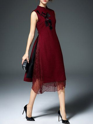 Burgundy Vintage Floral Midi Dress